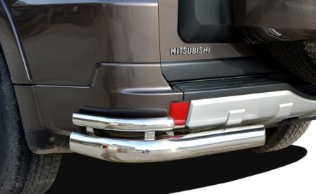 Защита заднего бампера Mitsubishi Pajero 4 2006 угловая d 76/42